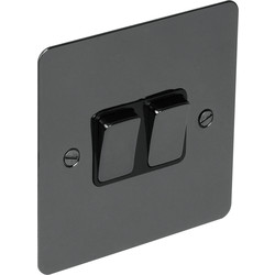Unbranded Flat Plate Black Nickel 10A Switch 2 Gang 2 Way - 10026 - from Toolstation