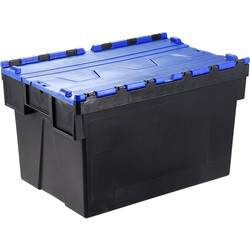 Barton Euro Container 65L with Attached Lid 600 x 400 x 365mm - Blue Lid - 10132 - from Toolstation