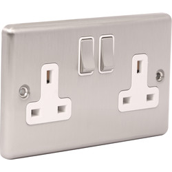 Wessex Wiring Wessex Brushed Stainless Steel 13A DP Switched Socket 2 Gang - 10226 - from Toolstation