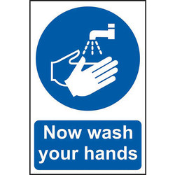 Centurion 'Now Wash Your Hands' Wall Sign 200 x 300mm - 10253 - from Toolstation