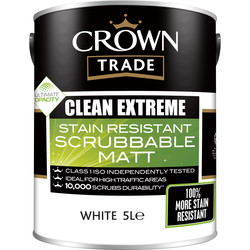 Crown Trade Crown Trade Clean Extreme Scrubbable Matt Emulsion Paint 5L White - 10264 - from Toolstation