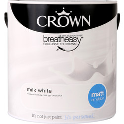 Crown Crown Breatheasy Matt Emulsion 2.5L Milk White - 10413 - from Toolstation