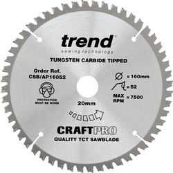 Trend Trend Craft Circular Saw Blade 160 x 52T x 20mm CSB/AP16052 - 10608 - from Toolstation