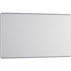 BG BG Screwless Flat Plate Brushed Stainless Steel Blank Plate 2 Gang - 10611 - from Toolstation