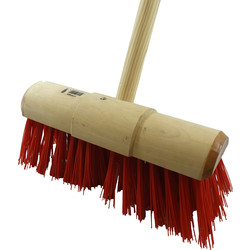 "Hill Brush Company Industrial Stiff Yard Broom With Handle 13"" (330mm) PVC - 10627 - from Toolstation"