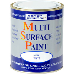 Bedec Multi Surface Paint Gloss White 750ml