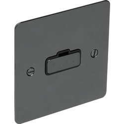 Flat Plate Black Nickel Fused Spur 13A Unswitched - 10836 - from Toolstation
