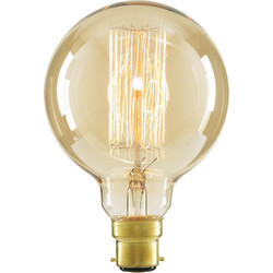 Inlight G95 Vintage Incandescent Decorative Dimmable Lamp 40W BC (B22d) Tinted 140lm - 10843 - from Toolstation