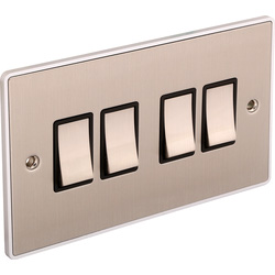 Urban Edge Urban Edge Brushed Chrome Switch 4 Gang 2 Way - 11187 - from Toolstation