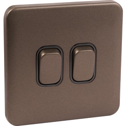 Schneider Schneider Lisse Mocha Bronze Screwless 10AX Switch 2 Gang - 11386 - from Toolstation