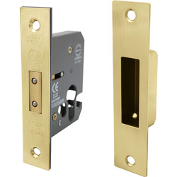 Unbranded Euro Profile Mortice Deadlock 63mm Electro Brass - 11553 - from Toolstation