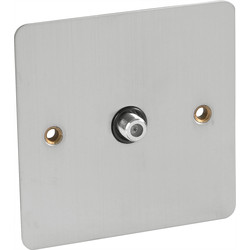 Flat Plate Satin Chrome Satellite Socket Outlet Satellite Single - 11629 - from Toolstation
