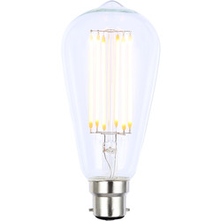 Inlight Vintage LED Filament ST64 Bulb Lamp 6W BC 650lm Clear - 11758 - from Toolstation