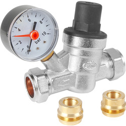 Pressure Reducing Valve and Gauge 15 / 22mm - 11827 - from Toolstation