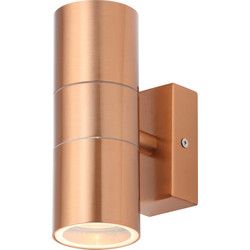 Zinc Leto Copper Effect Stainless Steel Up and Down Wall Light IP44 GU10 2 x 35W Max - 11855 - from Toolstation