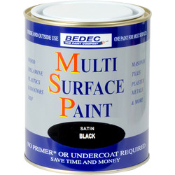 Bedec Multi Surface Paint Satin Black 750ml