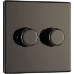 BG BG Screwless Flat Plate Black Nickel Dimmer Switch 2 Gang 2 Way - 12291 - from Toolstation