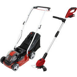 Einhell Einhell Power X-Change 2x18V 33cm Cordless Lawnmower & 18V 24cm Grass Trimmer Kit 2 x 2.0Ah - 12462 - from Toolstation