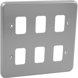 MK MK Grid Plus Metal Front Plate 6 Gang - 12480 - from Toolstation