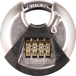Sterling Sterling Combination Stainless Steel Disc Padlock 70 x 9 x 17mm - 12978 - from Toolstation