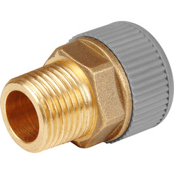 "Brass Male Adaptor 15mm x 1/2"" - 13195 - from Toolstation"