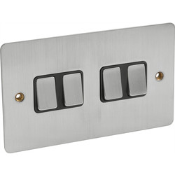 Flat Plate Satin Chrome 10A Switch 4 Gang 2 Way - 13294 - from Toolstation