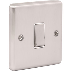 Wessex Wiring Wessex Brushed Stainless Steel Switch 1 Gang 2 Way - 13374 - from Toolstation