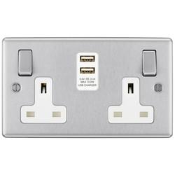BG Brushed Steel USB 13A White Insert Switched Socket