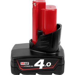 Milwaukee Milwaukee M12 12V Red Li-Ion Battery 4.0Ah - 13435 - from Toolstation