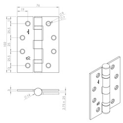 Eurospec British Standard Ball Bearing Hinge Grade 13