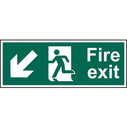 Fire Safety Sign Fire Exit Down/Left 400 x 150 - 13683 - from Toolstation