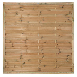 Forest Garden Pressure Treated Horizontal Hit & Miss Fence Panel - 4 Pack