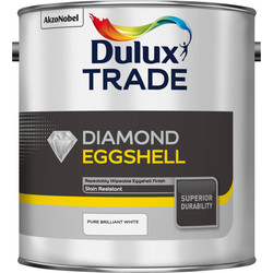 Dulux Trade Dulux Trade Diamond Eggshell Paint Pure Brilliant White 2.5L - 13956 - from Toolstation