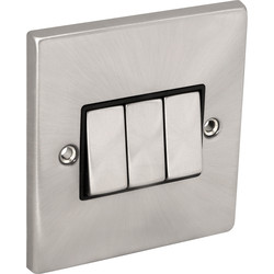 Click Deco Click Deco Satin Chrome Switch 10A 3 Gang 2 Way - 13957 - from Toolstation