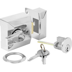 Deadlocking Nightlatch Chrome Narrow - 14039 - from Toolstation