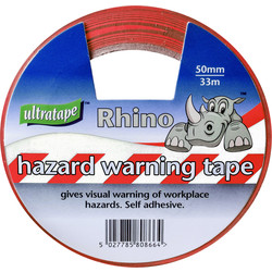 Ultratape Hazard Tape 50mm x 33m Red & White - 14040 - from Toolstation