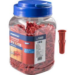 Rawlplug Rawlplug UNO Universal Contract Wall Plug Red 6mm Without Screws - 14179 - from Toolstation