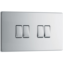 BG BG Screwless Flat Plate Polished Chrome 10AX Light Switch 4 Gang 2 Way - 14215 - from Toolstation