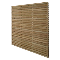Forest Garden Pressure Treated Contemporary Double Slatted Fence Panel