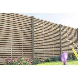 Forest Forest Garden Pressure Treated Contemporary Double Slatted Fence Panel 6' x 6' - 14321 - from Toolstation