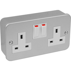 Axiom Axiom Metal Clad Switched Socket 2 Gang - 14332 - from Toolstation