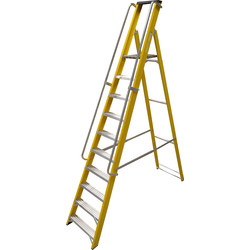 Lyte Ladders Lyte Heavy Duty Fibreglass Platform Step Ladder With Safety Handrail 10 Tread, Closed Length 3.00m - 14411 - from Toolstation