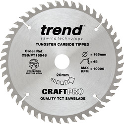 Craft Trend Craft Plunge Saw Blade 165 x 48T x 20mm CSB/PT16548 - 14458 - from Toolstation