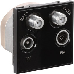 Euro Module TV/SAT Outlet Dual SAT/TV/FM Black - 14564 - from Toolstation