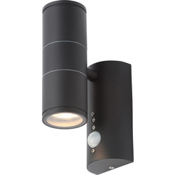 Coast Islay IP44 Marine Grade 316 Stainless Steel Up & Down PIR Wall Light 2 x GU10 Black - 14573 - from Toolstation