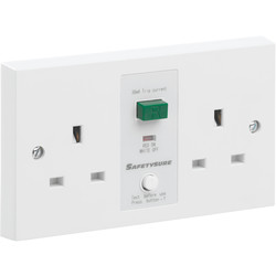 Unbranded SafetySure RCD Socket White 2 Gang 13A 30mA - 14721 - from Toolstation