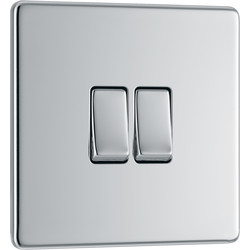 BG BG Screwless Flat Plate Polished Chrome 10AX Light Switch 2 Gang 2 Way - 14722 - from Toolstation