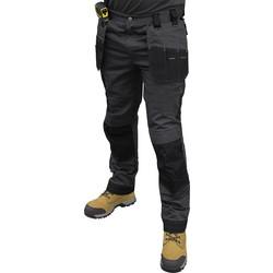 "DeWalt DeWalt Aspen Ripstop Stretch Holster Pocket Trousers Grey/Black 36""S - 14888 - from Toolstation"
