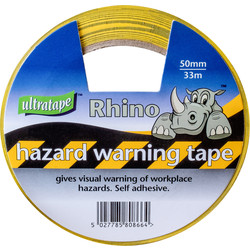 Ultratape Hazard Tape 50mm x 33m Yellow & Black - 15153 - from Toolstation