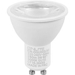 Enlite Enlite ICE LED 3W GU10 Dimmable Lamp Warm White 250lm - 15446 - from Toolstation